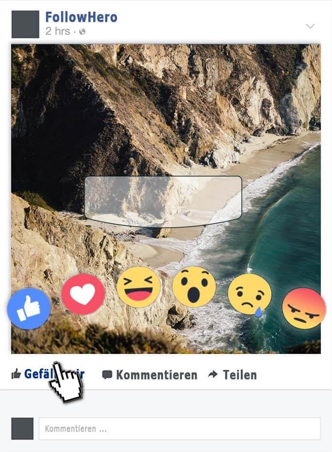 facebook reaction kauf, followhero, follow hero